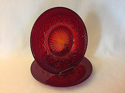 2 Imperial Cape Cod RUBY Salad Plates Free U.S. Shipping