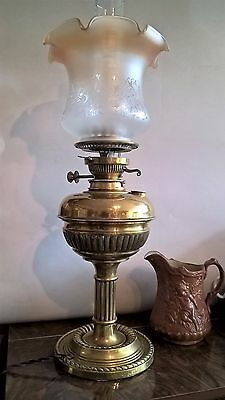 Impressive Victorian Messengers Patent Electric / Oil Lamp Heavy Solid