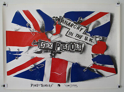"SEX PISTOLS Poster 1976 Rare Original EMI Records ANARCHY IN THE UK 38""x 28"""