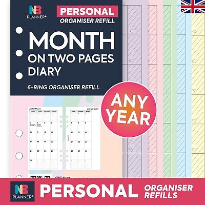 2019 Month on two pages  FILOFAX A5 / PERSONAL Compatible Refill Planner