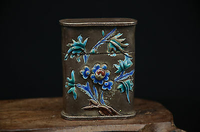 Chinese Exquisite Hand-carved Silver Opium Box