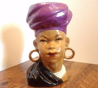 Ethnic Black African Woman Head Vase Purple Turban Gold Earrings L'Amour Japan