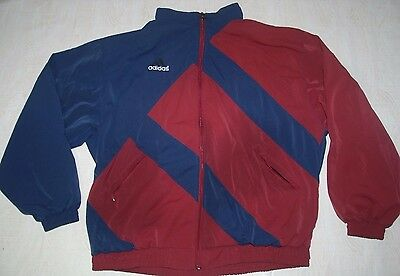 Vintage Adidas Equipment Tracksuit Top Jacket Red Burgundy Navy Blue Ibiza Xl