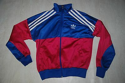Vintage Adidas Tracksuit Top Jacket Firebird Shiny Blue Pink Ibiza Small M