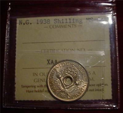 Iccs Graded Ms-64 1938 Shilling New Guinea Sterling.925 Silver Australian Terr.