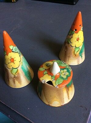 Clarice Cliff cruet set in Jonquil pattern. Conical Salt and Pepper 12 Cms High.