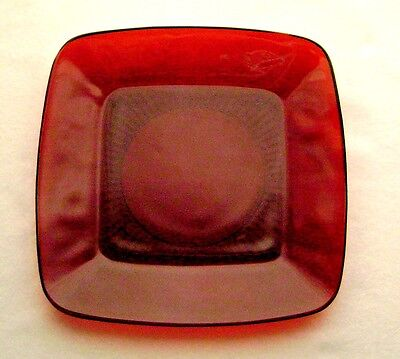 Vintage 1950-56 Anchor Hocking Charm Pattern Royal Ruby Red Luncheon Plate