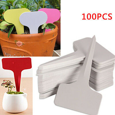 50/100x T-type Plastic Plant Flower Tags Markers Nursery Garden Label Stick Sign