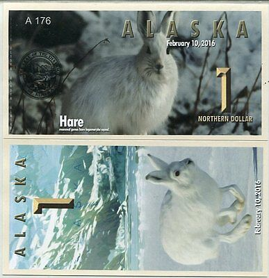Alaska 1 Northern dollar 2016 UNC Hare Rabbit Private Issue