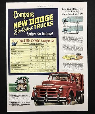 1948 Vintage Print Ad 1940s DODGE Red Truck Illustration Vehicle