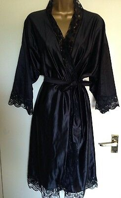 Vintage Black Slippery Nylon Robe Negligee Peignoir Size 16-20