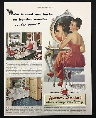 1948 Vintage Print Ad | 1940s AMERICAN STANDARD Smiling Woman Turns To Look
