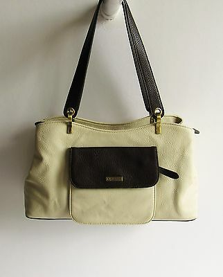 RIONI  Italy Gorgeous New Two-Tone  Pebbled Leather Medium Shoulder Bag NWOT