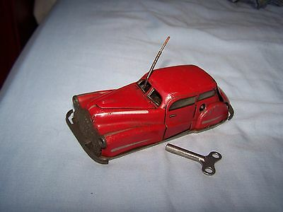 """Vintage Tin Plate Joustra France Red Car """"2002"""" auto miracle - clockwork 1950's"""