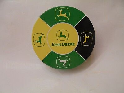 Vintage-like JOHN DEERE TIN CAN COASTERS SET of 5 ~ 2 Green, 2 Black & 1 Yellow
