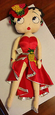 "BETTY BOOP Vintage Doll 1983 19"" Plush Red Dress w/ Fruit"