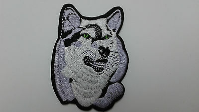 "2 pc Free US shpg Wolf head emb patch 3.5x2.5"" sew/iron-on"