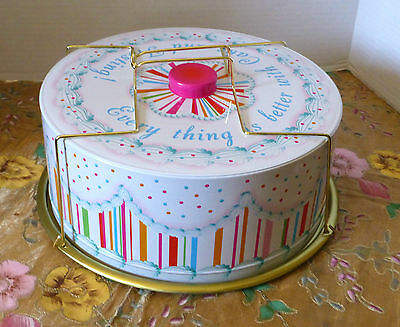 """Lightweight Metal Cake Carrying Container, 5""""H.,13 1/2"""" D. By GLITTERVILLE"""