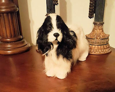 English Springer Spaniel Black/White Small Dog Collectible Goat Hair LAST ONE!