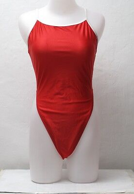 New Shiny Red Thin Straps Spandex Thong Leotard for Women size 14 Medium