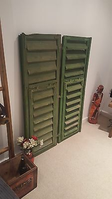 Large  VINTAGE WOODEN European window shutters shabby chic primitives