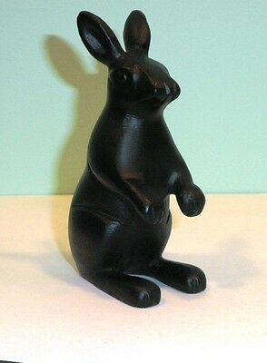 "Black Bronze Rabbit Bunny Hare standing 4"" tall hard to find"