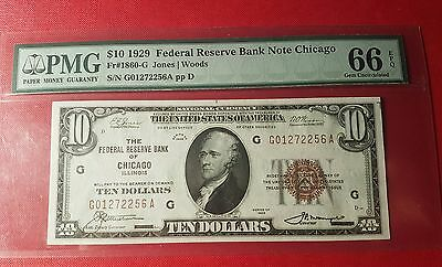High Grade National $10 PMG 66 1929 1860G Federal Reserve Chicago Low Mintage