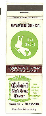 Matchbook Cover Colonial Steak House Restaurant Tavern Bar Windsor Ontario