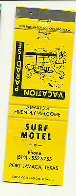 Matchbook Cover Surf Hotel Motel Motor Inn Vacation Paradise Port Lavaca Texas