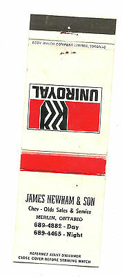 Matchbook Cover Uniroyal Tire Newham and Sons Car Dealership Merlin Ontario