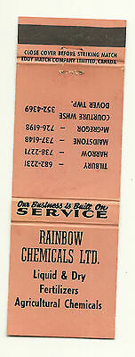 Matchbook Cover Rainbow Chemicals Fertilizers Agriculture Ontario Canada