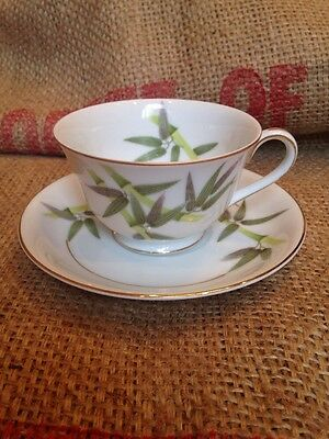 Vintage Sone Bamboo Pattern China Teacup and Saucer Made in Occupied Japan