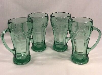 Coca Cola Mug W/ Handle 14.5 Oz By Libbey Set Of (4) Water Drinking Glasses