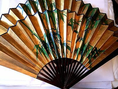 "Set of 2 Japanese Large Wall Folding Fans Bamboo Paper Painted 18"" Tall"