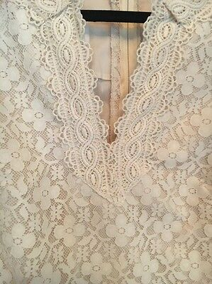 VINTAGE PRINCESS KAIULANI HAWAII WEDDING DRESS 14  IVORY LACE BOHO 60's RETRO