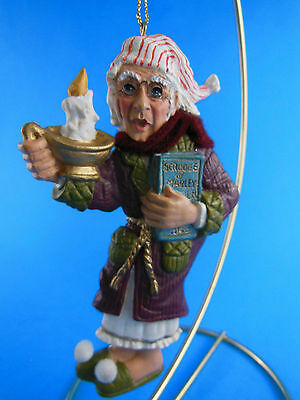 """Christmas Vintage man w candle, book & Night cap Resin Christmas Ornament 4 5/8"""""""