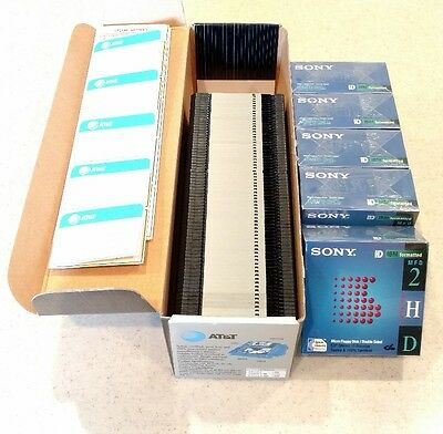 "Lot of 122 2HD 3.5"" Diskettes IBM formatted SONY AT&T - 50 factory sealed NEW"