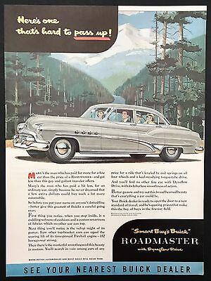 1951 Vintage Print Ad 1950s Illustration Buick Roadmaster Family Drive In Woods