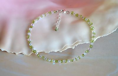 Hawaiian Peridot Gemstone & Italian .925 Sterling Silver Anklet 9 to 10 Inches