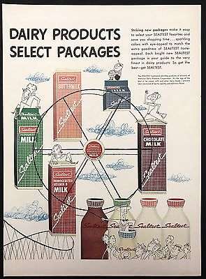 1951 Vintage Print Ad 1950s SEALTEST Packaging Safety Milk Dairy Grocery