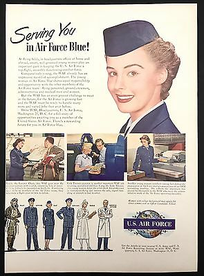 1951 Vintage Print Ad 1950s United States AIR FORCE Recruiting Woman Armed Force