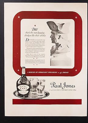 1937 Vintage Print Ad | Paul Jones Whiskey | 1930s Alcohol Drinks