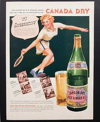 1937 Vintage Print Ad | Canada Dry Ginger Ale | 1930s Illustration Woman Tennis