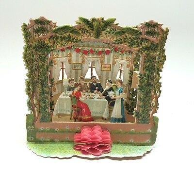 German Pop-Up Rosh Hashana Succot Jewish New Year Card 1890 Antique Unused & Env