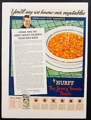 1937 Vintage Print Ad | Hurff Vegetable Soup 30's  Food