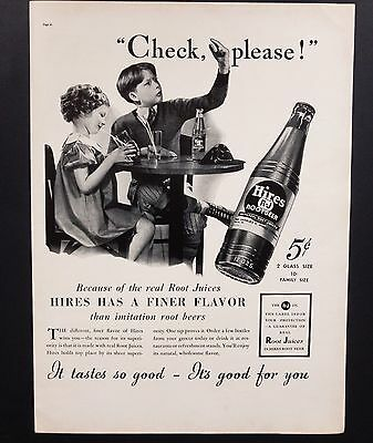 1937 Vintage Print Ad | Hires Root Beer | 30's Soda Kid Asking For Check