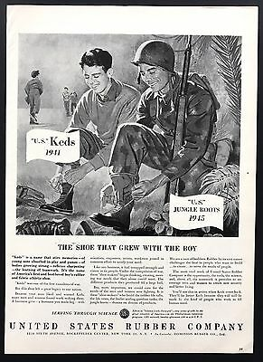 US Rubber Co | 1945 Vintage Ad | 1940s Keds Jungle Boots Military Soldiers