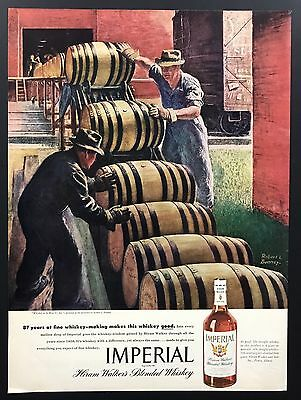Imperial Whiskey | 1945 Vintage Print Ad | 1940s Robert Benney Art Barrel