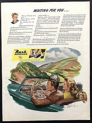 Nash Motors | 1943 Vintage Ad | 1940s Illustration Country Drive Couple
