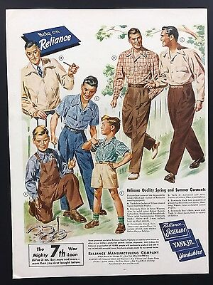 Reliance | 1945 Vintage Ad | 1940s Men's Fashion Garments